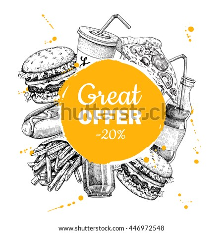 Fast Food Special Offer Hand Drawn Stock Illustration 446972548 ...