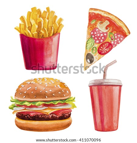 Fast food watercolor set. Hamburger, chips, pizza, cola.