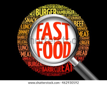 FAST FOOD word cloud with magnifying glass, food concept 3D illustration