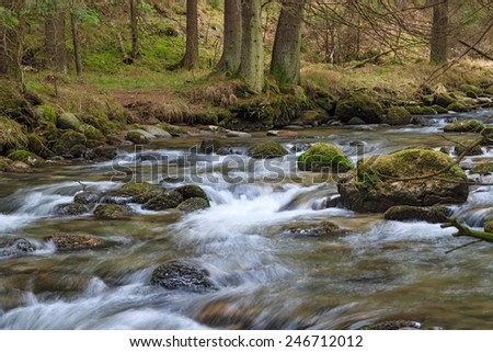 fast forest river flowing among mossy stones - stock photo