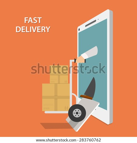Fast Goods Delivery Concept Flat Isometric. Contains Image of Delivery Man With Hand Truck and Parcels Appeared From Smartphone or Tablet. - stock photo