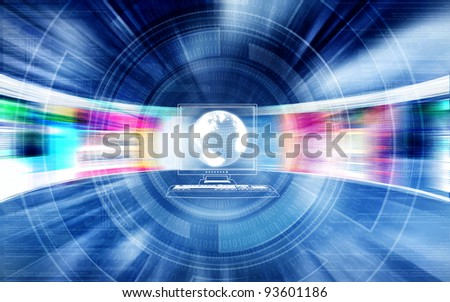 Fast internet concept with website flashing on screen in high speed movement - stock photo