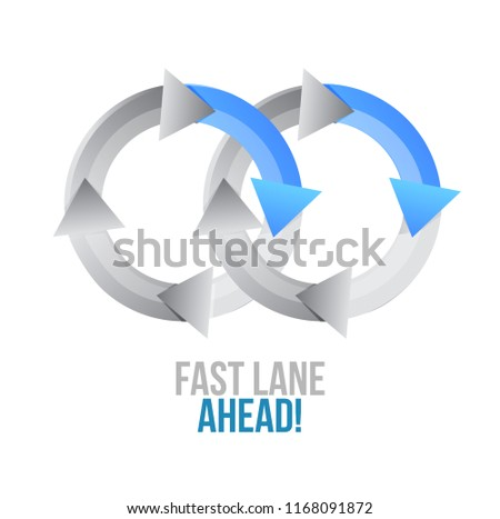 Fast lane ahead. moving together cycle concept sign isolated over a white background