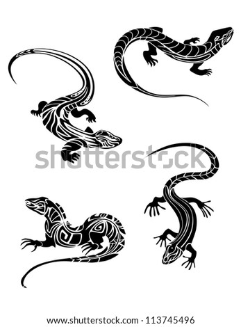 Fast lizards in black color and tribal style for tattoo design. Vector version also available in gallery - stock photo