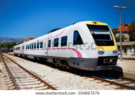 Fast modern train Split Croatia Zagreb - stock photo