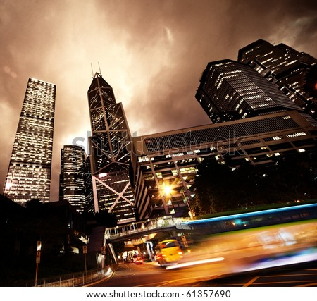 Fast moving cars at night - stock photo