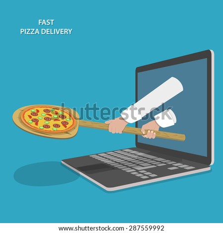 Fast Pizza Delivery Illustration. Hands Of Chef With Peel And Pizza Appeared From Laptop. - stock photo