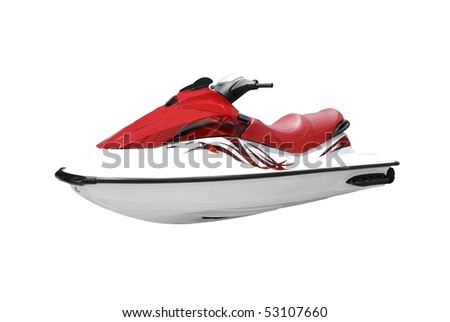 fast red and white jet ski isolated - stock photo