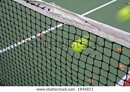 Fast Serve Caught in the Net - stock photo