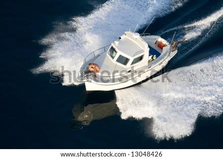 fast speeding yacht - stock photo
