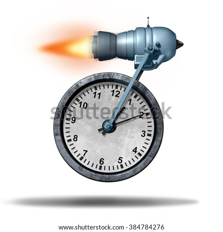 Fast time business deadline concept as a clock being transported by a rocket engine as a speed metaphor for increased faster service or accelerated productivity. - stock photo