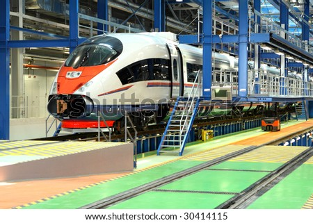 fast train in the service depot - stock photo