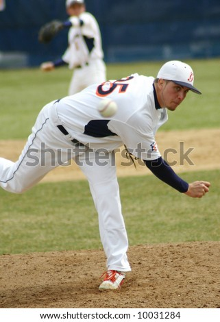 Fastball, Pitcher, ball coming forward - stock photo