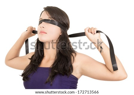 fastened eyes, bind woman - stock photo