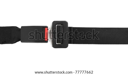 Fastened seat belt. All on white background.