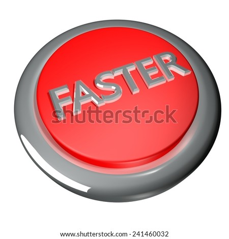 Faster button isolated over white, 3d render - stock photo