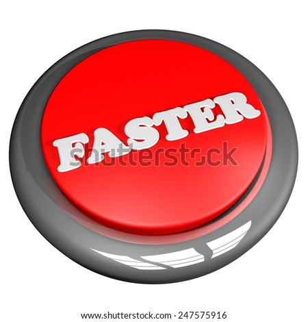 Faster button, isolated over white, 3d render - stock photo