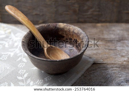 Fasting. Lent.  Empty cup with spoon - stock photo