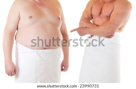 Fat and muscular man beneath each other - stock photo