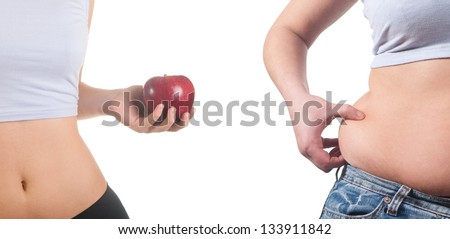 fat and thin women - stock photo