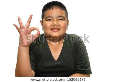 fat boy shows a sign okay isolated on white background - stock photo