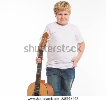 Fat Boy with Guitar - stock photo