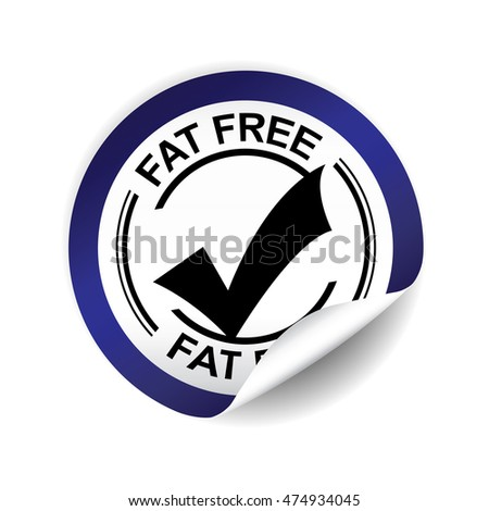 Fat free blue sticker button label and sign