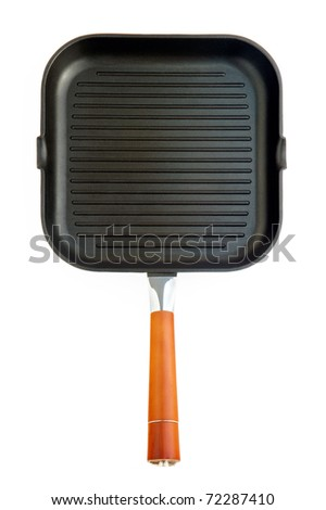 Fat-less Frying pan with orange handle isolated od white - stock photo