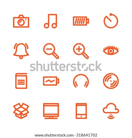 Fat Line Icon set for web and mobile. Modern minimalistic flat design elements of Media Service, Entertaiment and Gadgets - stock photo