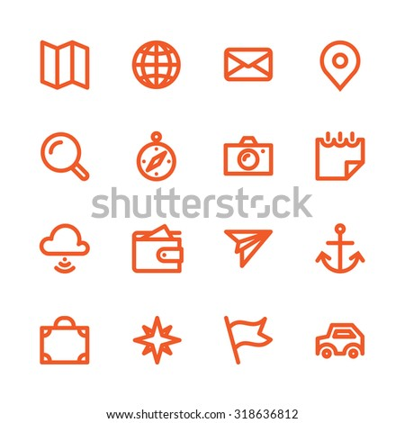 Fat Line Icon set for web and mobile. Modern minimalistic flat design elements of traveling and navigation tools - stock photo