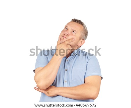 Fat man  chin on hand thinking daydreaming, staring thoughtfully upwards,Isolated on white background.