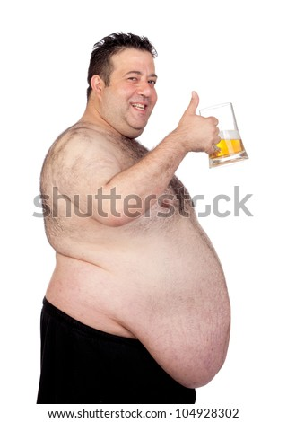 Fat man drinking a jar of beer isolated on white background - stock photo