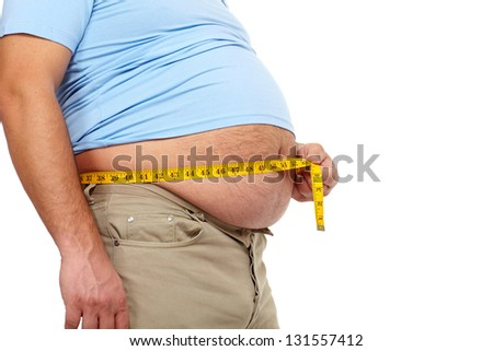 Fat man holding a measuring tape. Weight Loss. - stock photo