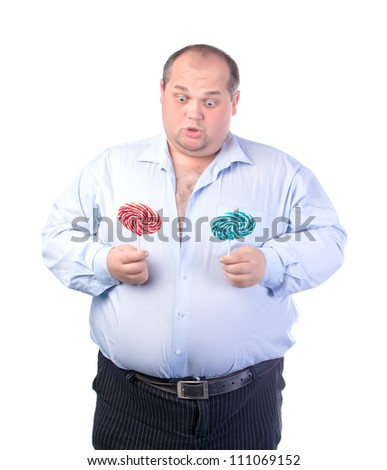 Fat Man in a Blue Shirt, with Lollipop, isolated - stock photo