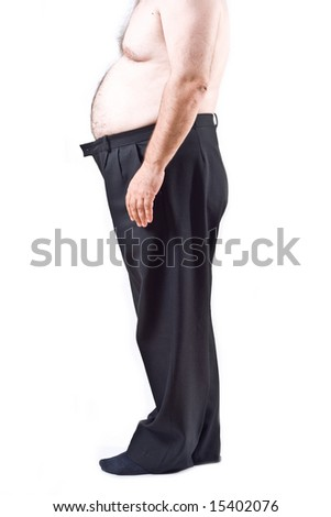Fat man isolated on white background - stock photo
