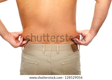 Fat man. Isolated on white. Health care concept. - stock photo