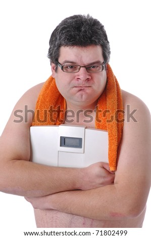 Fat man preparing to workout, mad with scale - stock photo