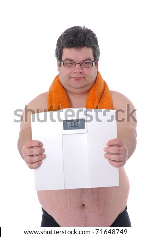Fat man preparing to workout, with scale happy with results - stock photo