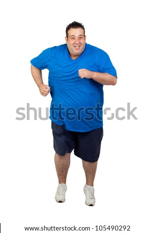 Fat man running isolated on white background - stock photo