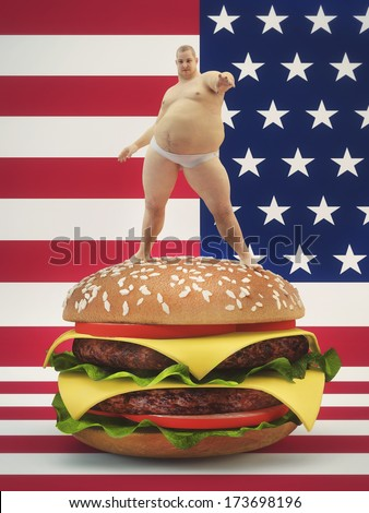 Fat man standing on a hamburger  with the USA flag background. Concept for healthy eating - stock photo
