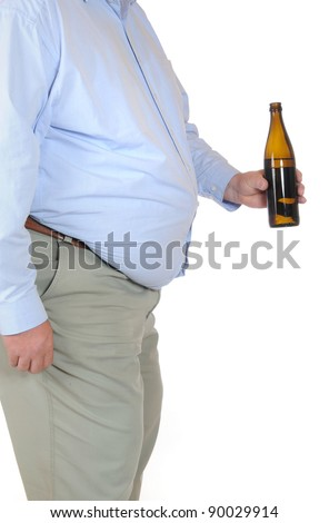 Fat man with a bottle of beer isolated on white - stock photo