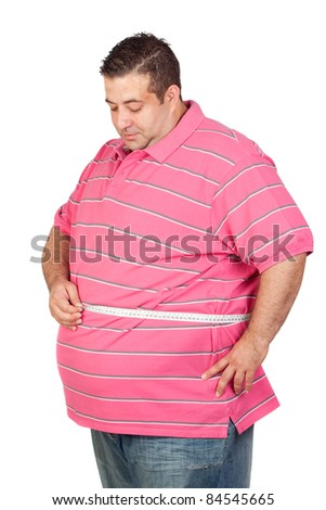 Fat man with a tape measure isolated on white background - stock photo