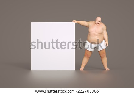 Fat man with empty sign - for your own text - stock photo