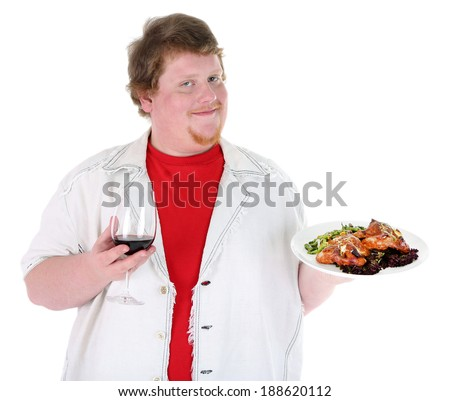 Fat man  with wine glass and fried chicken, isolated on white - stock photo