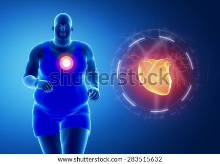 Fat obese man running with heart attack concept - stock photo