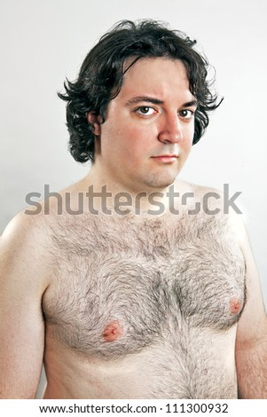 fat proud naked man portrait - stock photo