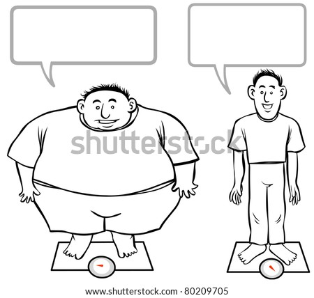 Fat-Slim cartoon men. outline illustration. - stock photo