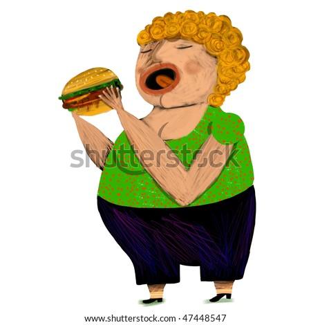 fat woman eat a hamburger - stock photo
