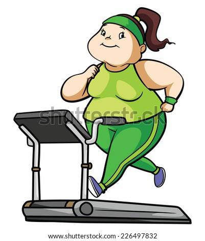 Fat Woman Fitness  - stock photo