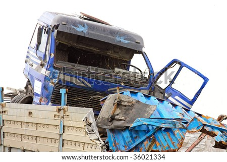 Fatal traffic accident with truck and trailer - stock photo